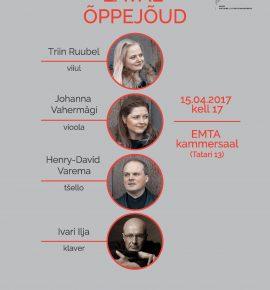Laval õppejõud: Triin Ruubel (viiul), Johanna Vahermägi (vioola), Henry-David Varema (tšello), Ivari Ilja (klaver)