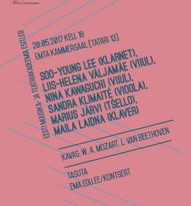 Soo-Young Lee (klarnet), Liis-Helena Väljamäe (viiul), Nina Kawaguchi (viiul), Sandra Klimaité (vioola), Marius Järvi (tšello), Maila Laidna (klaver)