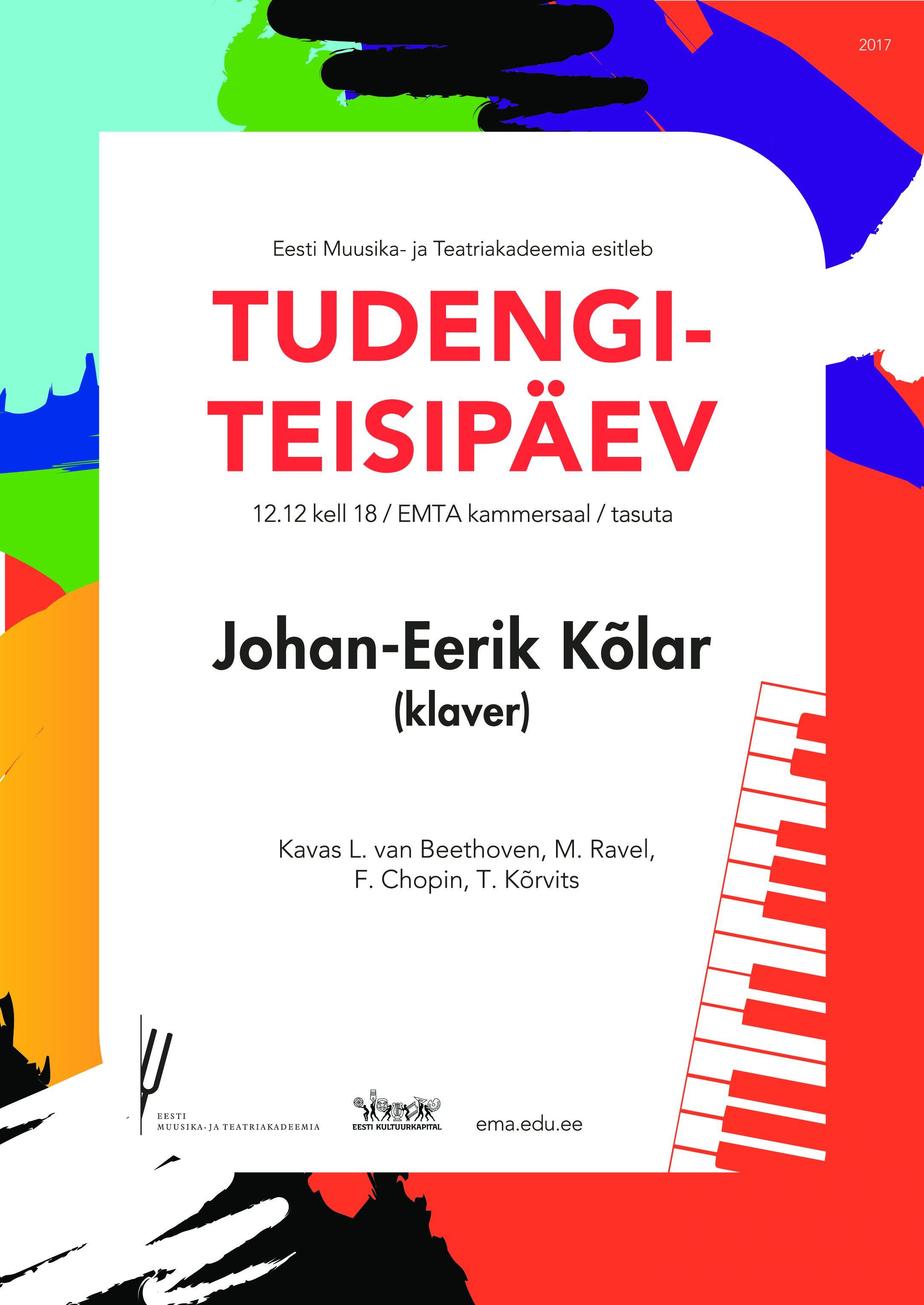 Tudengiteisipäev: Johan-Eerik Kõlar (klaver)